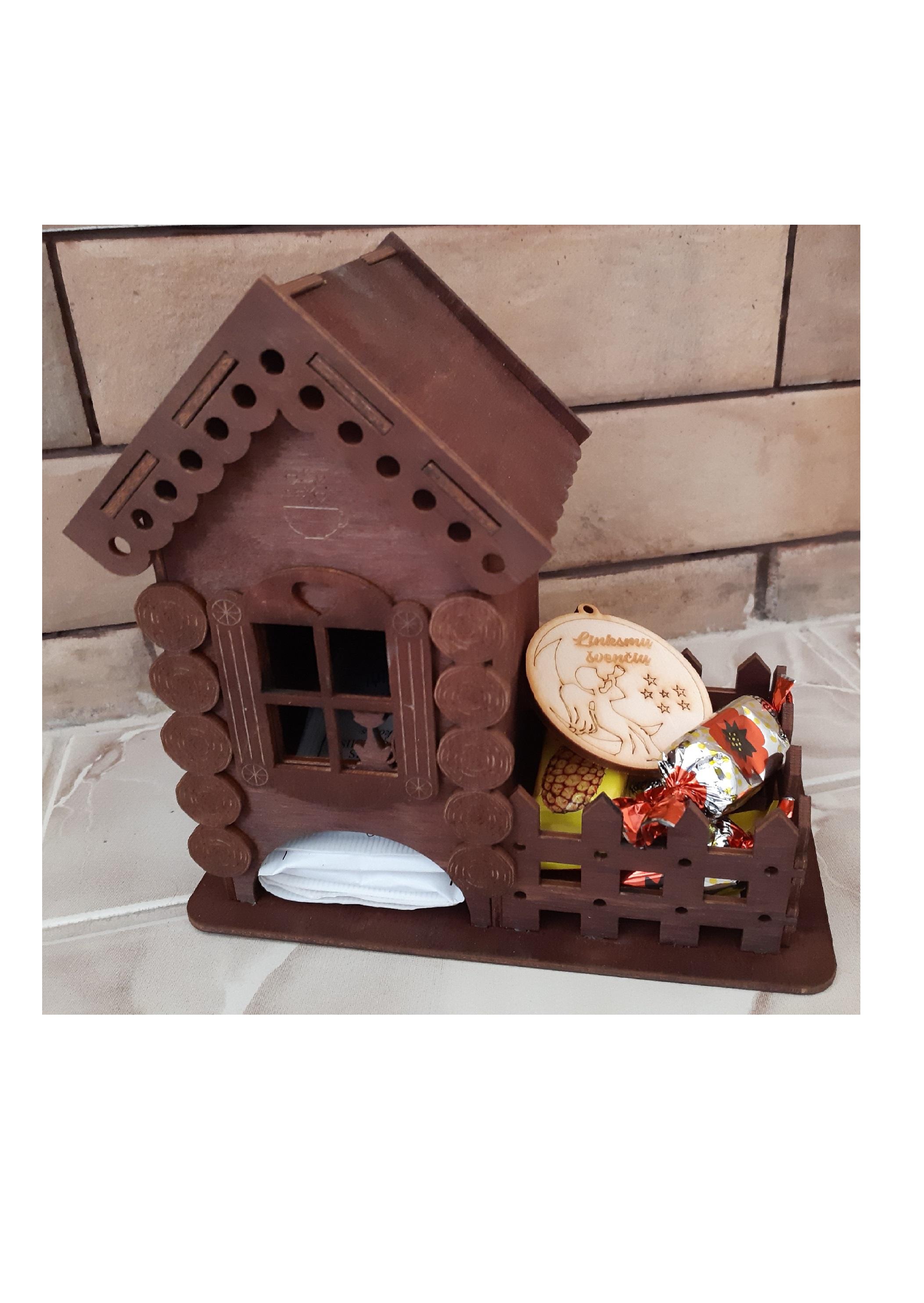 Medinė dėžutė, medinė arbatinė, suvenyrinė dėžutė, dėžutė namelis, dovanų namelis, kalėdinė dovanėlė